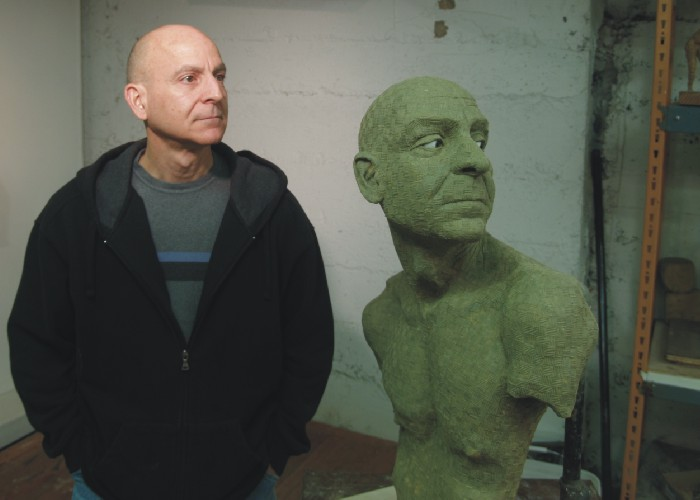 Kent with Spencer Shubert sculpture of Kent