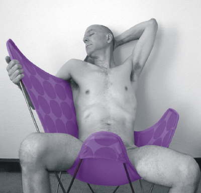 r in purple chair